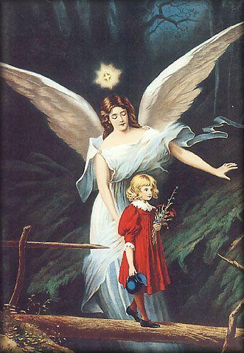 angel guiando a niña