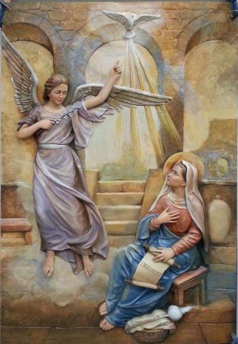 San Gabriel y María en la anunciación de Jesús