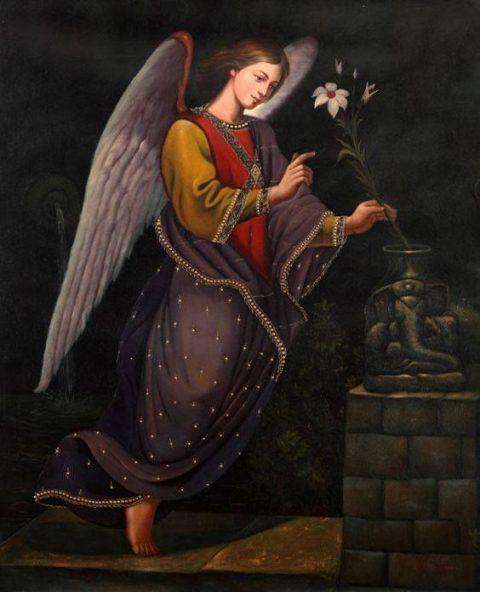 El ángel Gabriel y un lirio en la mano