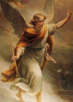 el ángel gabriel con cetro en mano
